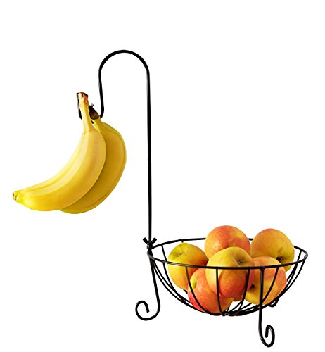 Fruit Basket with Detachable Banana Hanger Hook - A Countertop Produce Wire Basket Storage to Hold Potatoes, Tomatoes, Onions and Vegetables - 10