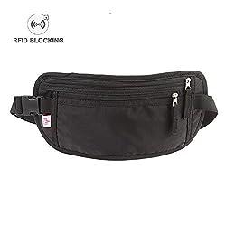 Ogem Waterproof RFID Blocking Money Belt-Concealed Travel Wallet & Passport Holder
