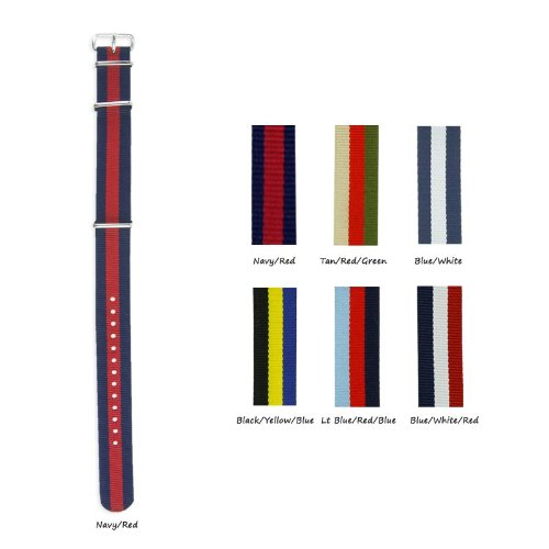 Military-Style Nylon Watch Strap - 22Mm - Choose From 6 Different 3-Stripe Patterns