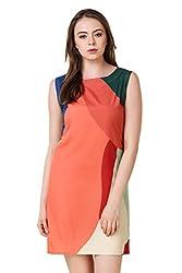Binny Creation Women's Art Crepe Western Dress (BWD1001-Double-Orange)