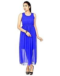 FASHION By The BrandStand Women's Georgette Dress (VS_DRS1059_Blu_M, Blue, Medium)