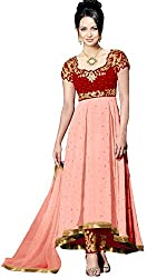 Clickedia Women & Girls Embroidered High Low Semi-stitched Peach & Red Georgette salwaar suit Anarkali dress Material with contrast churidaar and empire top
