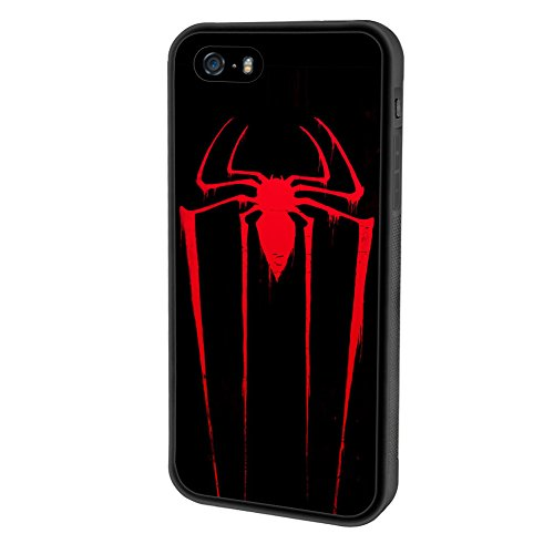 iPhone SE case, Onelee Marvel Spider Man Logo [Durable Anti-Slip] TPU Defensive Case Compatible with Apple iPhone 5SE / 5S / 5 (Black)