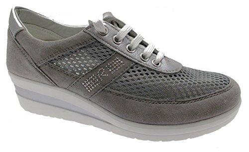 sneaker lacci grigio zeppa art 75850 scarpa donna plantare rete 36 grigio