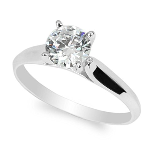 JamesJenny 10K White Gold 1.0ct Round CZ Classic Solid Engagement & Wedding Solitaire Ring Size 6