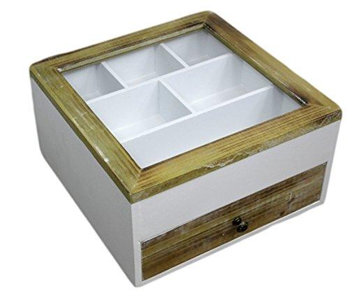 besteckkasten kiste glasdeckel holz wei braun landhaus. Black Bedroom Furniture Sets. Home Design Ideas