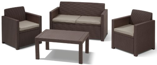 Allibert-Lounge-Set-Merano-Braun-4-teilig