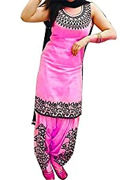 Indian Designer Bollywood Collection Branded Women's Embroidered Cotton Pink Semi Stitched Patiala Salwar Suit...
