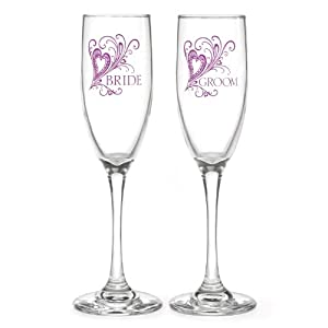 Hortense B. Hewitt Wedding Champagne Toasting Flutes, Purple Flourish Bride and Groom, Set of 2