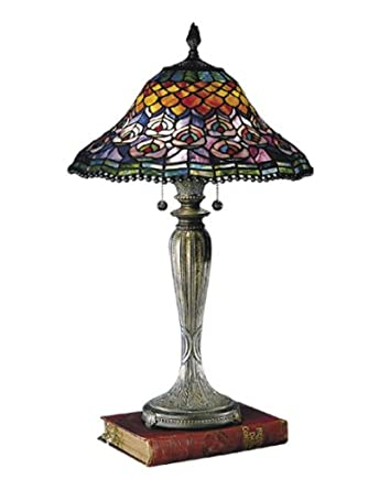 dale tiffany 8503 767 peacock tail table lamp fieldstone and art. Black Bedroom Furniture Sets. Home Design Ideas