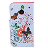 (TRAIT) Colorful Butterfly PU Leather Wallet Cases Protective Skin Protector Covers for HTC One M7 Flip Case Folio Cover Stand Holder with Card Port