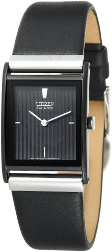 Citizen Men's Eco-Drive Black Ion-Plated Leather Strap Watch #BL6005-01E