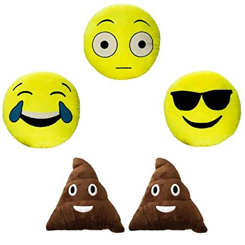 5 Emoji Plush Pillow Set Stuffed Emoticon Toys Yellow Round Cushion Smiley Poop