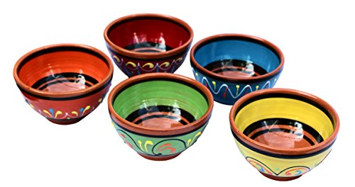 Terracotta Salsa Bowl Set of 5 - Hand Painted From Spain (Hand Painted Dishes compare prices)