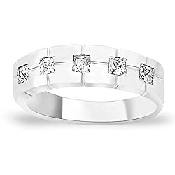 Taraash Band style White CZ 925 Sterling Silver Finger Ring For Men FR1343R9