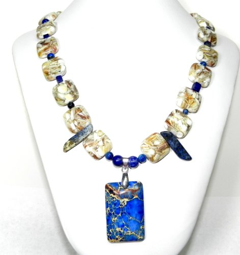 Magnesite and Mother of Pearl Pendant Necklace with Free Earrings!