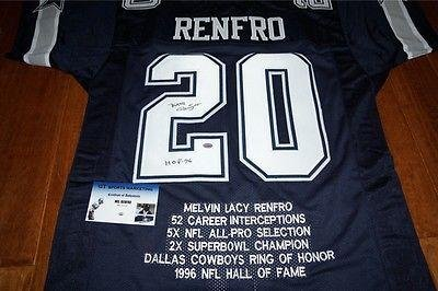 "MEL RENFRO ""HOF"" Signed DALLAS COWBOYS Jersey + GTSM HOLO & COA - NFL Autographed Game Used Cleats at Amazon.com"