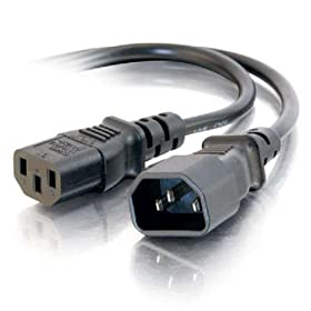 Cables To Go 03140 18 AWG Computer Power Cord Extension IEC320C13 to IEC320C14, Black (1 Feet/0.30 Meters)