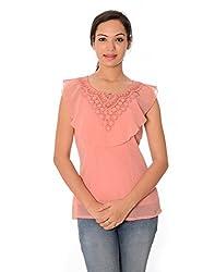 Oviya Women's Pink Self Design Sleeveless Tops