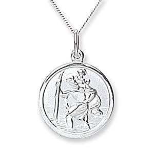Chic 9ct White Gold Plain Stchristopher With 46cm Chain by Chic