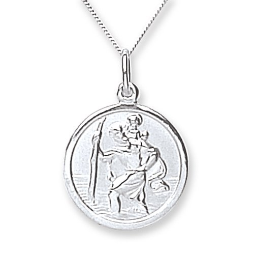 Chic 9ct White Gold Plain St.Christopher with 46cm Chain