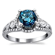 1.38ct Blue Round Diamond Engagement Ring 14k White Gold