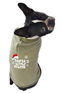 Ruff Ruff and Meow Dog Hoodie, Santas Little Helper, Green, Extra-Large