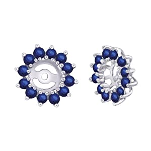 14K White Gold 1 3/8 ct. Sapphire Earring Jackets