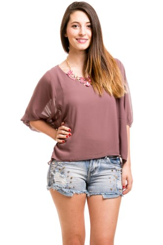 Chiffon Peasant Top In Purple