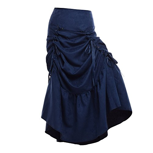 Blessume-Women-Punk-Corset-Skirt-Blue