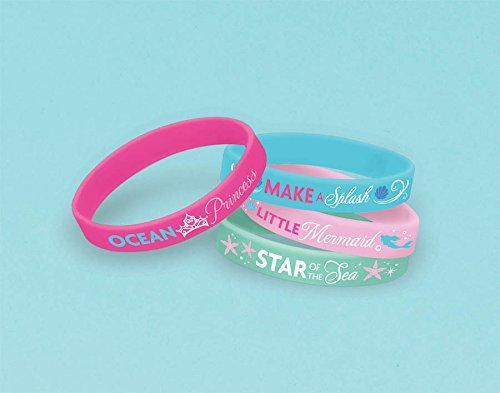 "Amscan Disney's Ariel Rubber Bracelet, Pink/Blue/Light Pink/Green, 2 1/2"" x 7/16"" - 1"