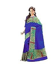 First Loot Designer Party Wear Raw Silk Blue Saree -2378
