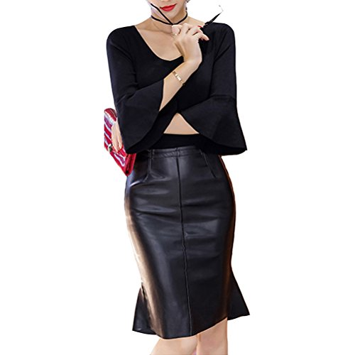 Laixing High Quality PU Faux Leather Slim Fit Skirt Women's Sexy High Waist Dress