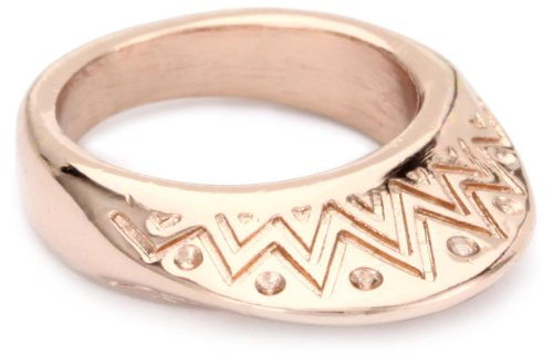 House of Harlow 1960 14k Rose Gold-Plated Etched Mohawk Ring, Size 7