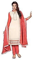 Swaman White Chanderi Dress Material
