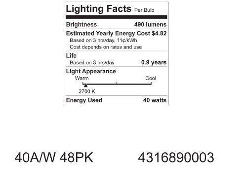 GE Lighting 13257 40-Watt A19, Soft White, 4-Pack