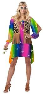 Ladies XL Hippie Chick 1960s Fancy Dress Costume Flower Power Womens