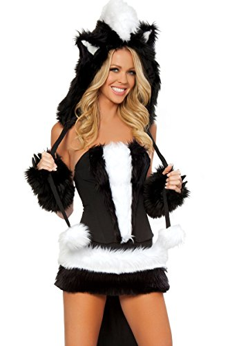 J. Valentine Women's Sexy Flower Costume 7 Piece Complete Set Naughty Skunk