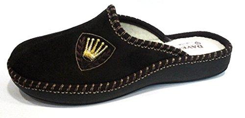 DAVEMA ciabatte pantofole lana da uomo INVERNALI mod. 1112 t.moro (42)