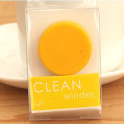 Bao Xin Cable Cord Winder Organizer For Headset Earphone With Screen Wiper (Yellow)