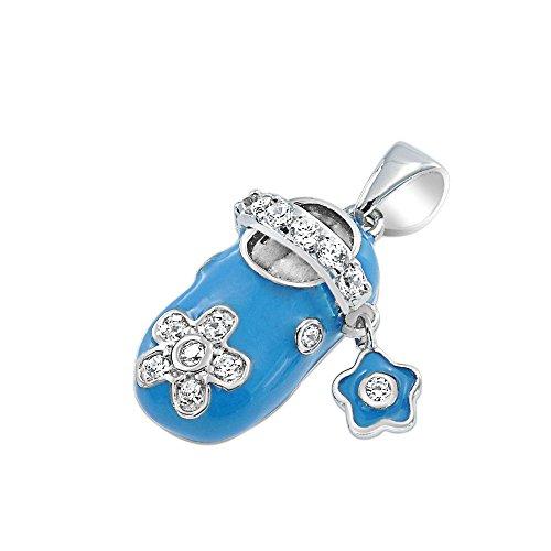 Bling Jewelry Baby Blue Enamel Cz Flower Baby Shoe Charm Pendant Sterling Silver front-321668