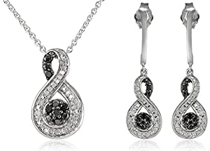 Sterling Silver Black and White Diamond Twist and Drop Shape Pendant and Earrings Box Set (1/4 Cttw, ), 18