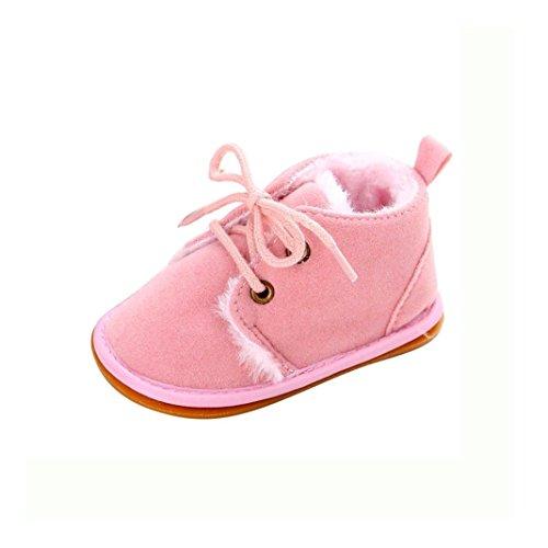 Kingko® Bambino del bambino pattini infantili neve stivali Shoes suola in gomma Prewalker pattini della greppia inverno Stivali (0~6 mesi, Rosa)