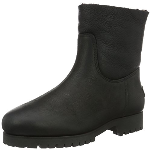 Shabbies AmsterdamShabbies commando sole Double Face shaft real lammy lined flat 16cm boot - Stivaletti corti imbottiti Donna , Nero (Nero (nero)), 39 EU