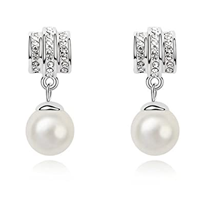Rarelove White Pearl Diamond Swarovski Elements Crystal White Gold Dangle earrings