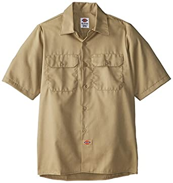 Dickies Big Boys' Twill Short Sleeve Shirt, Desert Sand, Small
