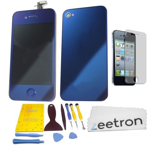 Zeetron© Shiny Blue Iphone 4 Colorswap Color Conversion Diy Kit (Includes A Glass Screen Lcd Aseembly + Home Button + Back Door Assembly + Full Tool Kit & Screw Mat + Screen Protector + Zeetron Microfiber Cloth) At&T Only (Do It Yourself Kit)