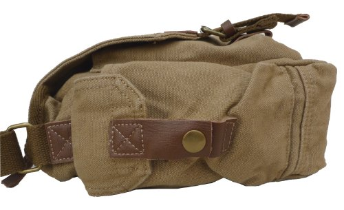 Otium 21217KA Canvas Genuine Leather Cross Body Messenger Handbag,Khaki