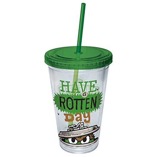 Tazza in plastica, motivo: Sesame Street, Oscar hanno un Rotten Day-Tazza con cannuccia 06798