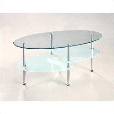 Coffee Table with Oval Glass Top in Chrome Finish